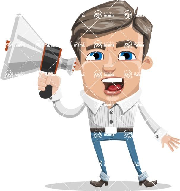 Cartoon Chibi Guy Vector Character AKA Brighton - Loudspeaker