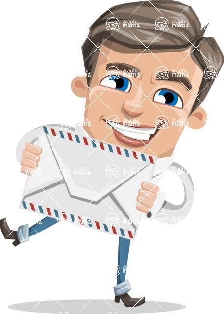 Cartoon Chibi Guy Vector Character AKA Brighton - Letter