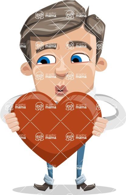 Cartoon Chibi Guy Vector Character AKA Brighton - Love
