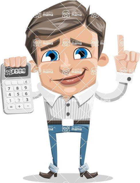Cartoon Chibi Guy Vector Character AKA Brighton - Calculator