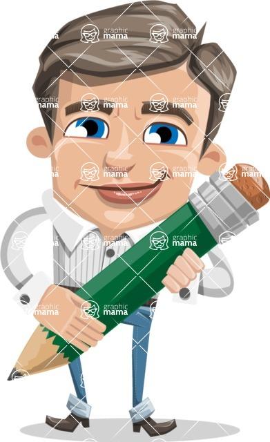 Cartoon Chibi Guy Vector Character AKA Brighton - Pencil