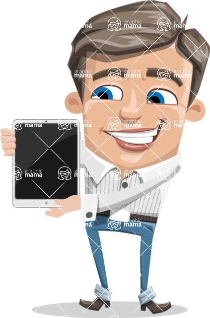 Cartoon Chibi Guy Vector Character AKA Brighton - iPad 1