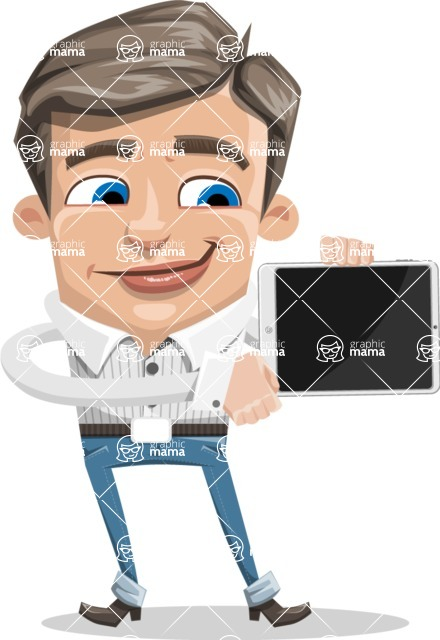 Cartoon Chibi Guy Vector Character AKA Brighton - iPad 2