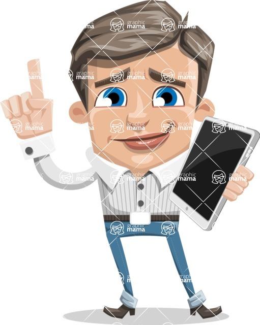 Cartoon Chibi Guy Vector Character AKA Brighton - iPad3