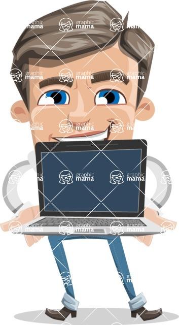 Cartoon Chibi Guy Vector Character AKA Brighton - Laptop 2