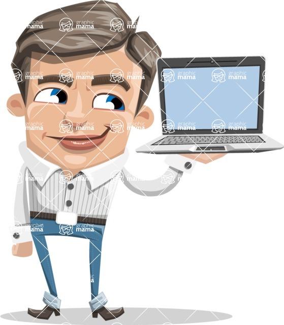 Cartoon Chibi Guy Vector Character AKA Brighton - Laptop 3