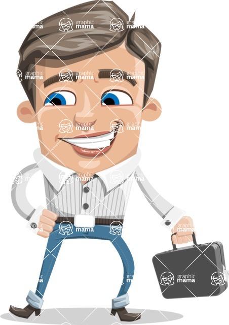 Cartoon Chibi Guy Vector Character AKA Brighton - Brifcase 1