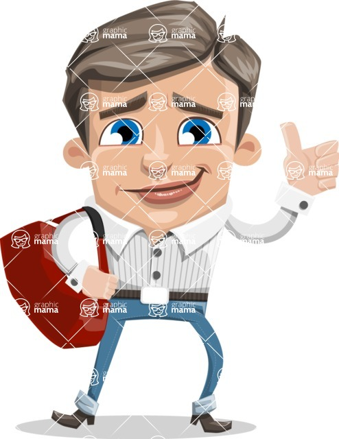 Cartoon Chibi Guy Vector Character AKA Brighton - Travel 2