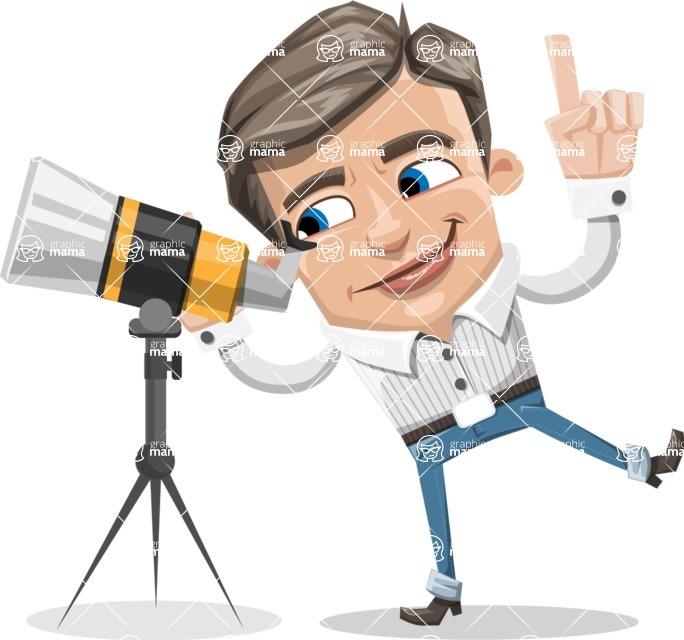 Cartoon Chibi Guy Vector Character AKA Brighton - Telescope