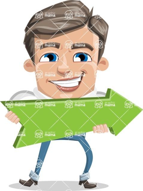 Cartoon Chibi Guy Vector Character AKA Brighton - Pointer 2
