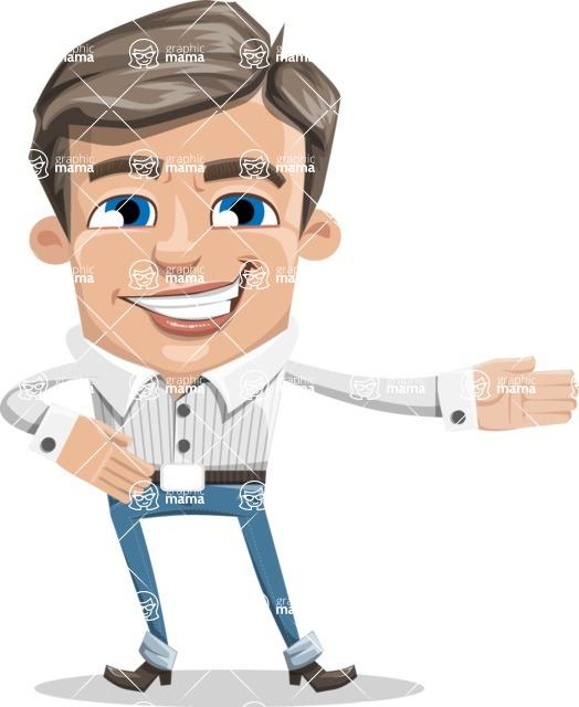 Cartoon Chibi Guy Vector Character AKA Brighton - Show2