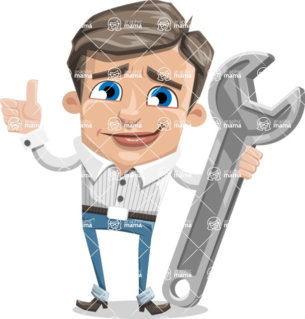 Cartoon Chibi Guy Vector Character AKA Brighton - Repair