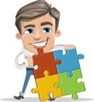 Cartoon Chibi Guy Vector Character AKA Brighton - Puzzle