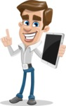Male Cartoon Character АКА Edward Keeps-word - Holding an iPad