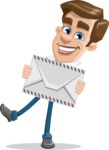 Male Cartoon Character АКА Edward Keeps-word - Holding Mail Envelope