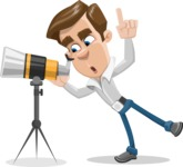 Male Cartoon Character АКА Edward Keeps-word - Looking Through a Telescope