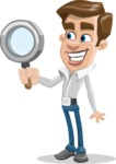 Male Cartoon Character АКА Edward Keeps-word - Searching with Magnifying Glass