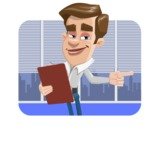 Male Cartoon Character АКА Edward Keeps-word - With Office Background