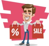 Male Cartoon Character АКА Edward Keeps-word - With Shopping Bags With Simple Background