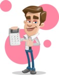 Male Cartoon Character АКА Edward Keeps-word - With Simple Shapes Background