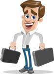 Male Cartoon Character АКА Edward Keeps-word - with Two Briefcases