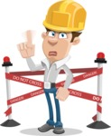 Male Cartoon Character АКА Edward Keeps-word - with Under Construction Sign