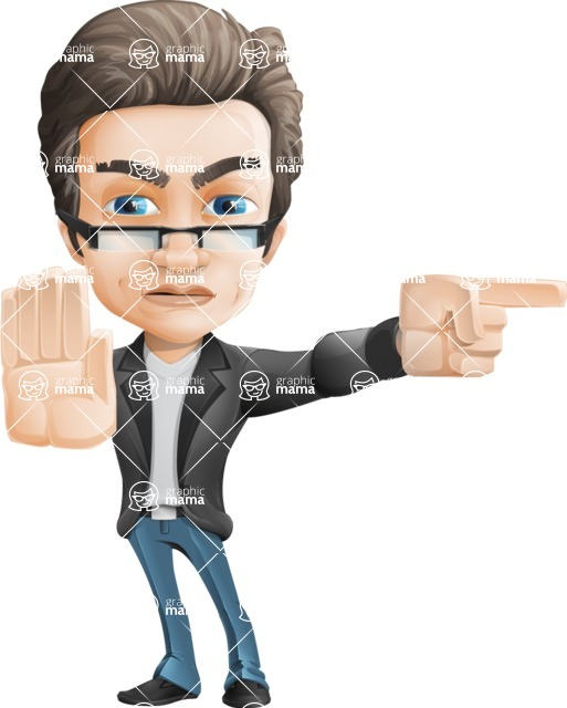 Vector Business Man Cartoon Character Design - Direct Attention2
