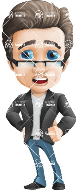 Vector Business Man Cartoon Character Design - Sad