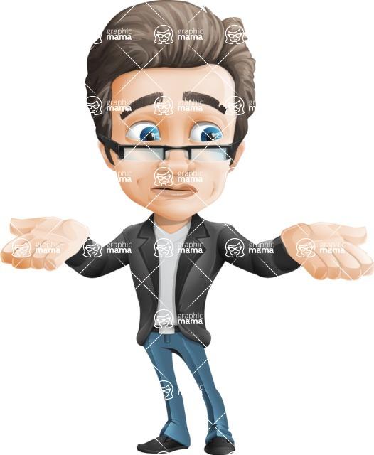 Vector Business Man Cartoon Character Design - Lost