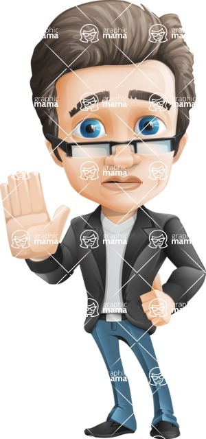 Vector Business Man Cartoon Character Design - Goodbye