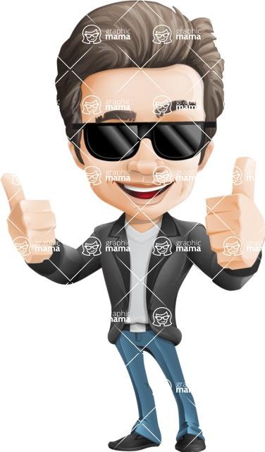 Vector Business Man Cartoon Character Design - Sunglasses2