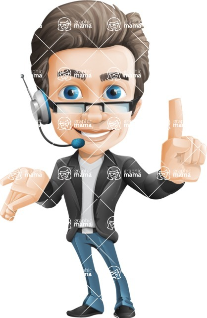 Vector Business Man Cartoon Character Design - Support2