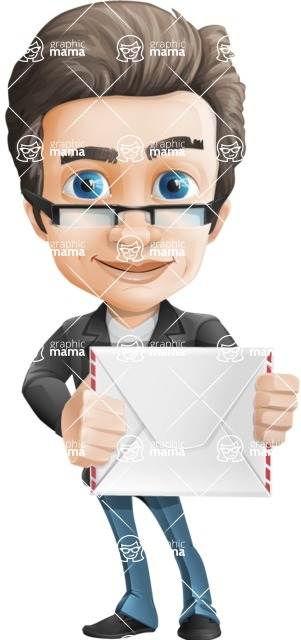 Vector Business Man Cartoon Character Design - Letter