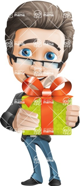 Handsome man vector character - Nick Smartman - Gift