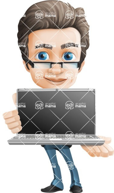 Handsome man vector character - Nick Smartman - Laptop