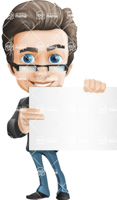 Vector Business Man Cartoon Character Design - Sign3