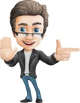 Vector Business Man Cartoon Character Design - Direct Attention