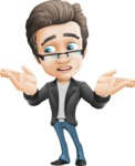 Vector Business Man Cartoon Character Design - Lost2