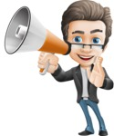 Vector Business Man Cartoon Character Design - Loudspeaker