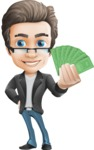 Vector Business Man Cartoon Character Design - Handsome man vector character - Nick - showing money