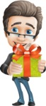 Vector Business Man Cartoon Character Design - Gift