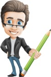 Vector Business Man Cartoon Character Design - Pencil