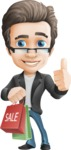 Vector Business Man Cartoon Character Design - Handsome man vector character - Nick - sale