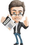 Vector Business Man Cartoon Character Design - Calculator