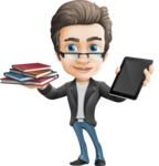Handsome man vector character - Nick Smartman - Handsome man vector character - Nick - book and ipad