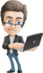 Vector Business Man Cartoon Character Design - Laptop3