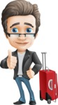 Vector Business Man Cartoon Character Design - Handsome man vector character - travel trip