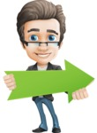 Vector Business Man Cartoon Character Design - Arrow2