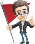 Vector Business Man Cartoon Character Design - Checkpoint