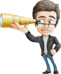 Vector Business Man Cartoon Character Design - Telescope